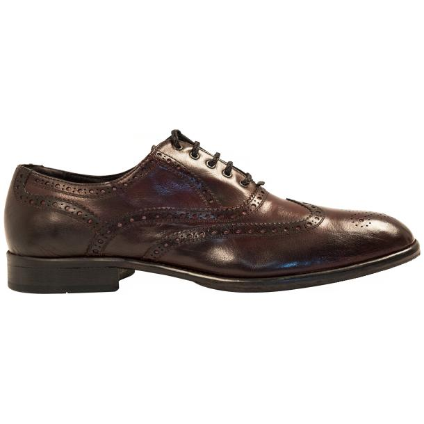 Mateo Dip Dyed Burgundy Red Nappa Leather Oxfords full-size #4