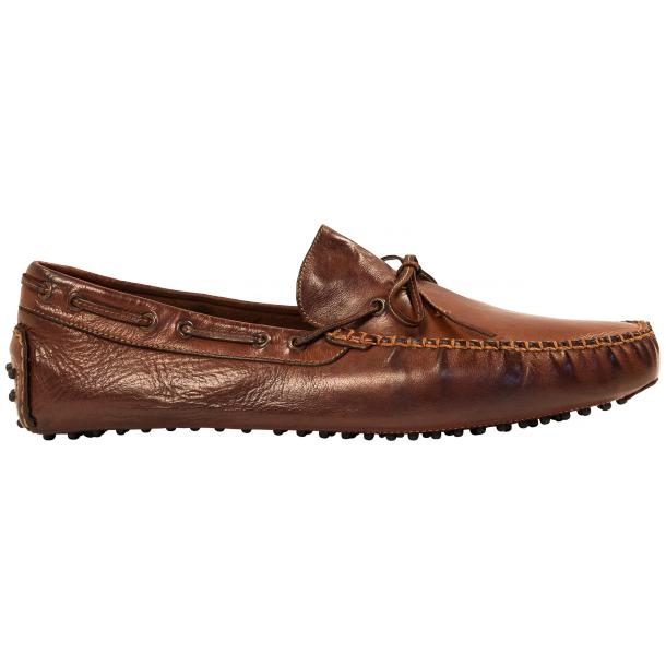 Adam Dip Dyed Brick Brown Nappa Leather Drivers full-size #4