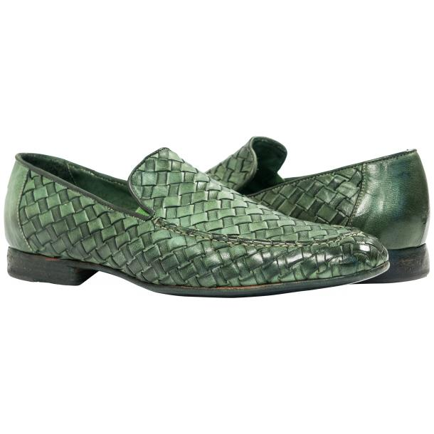 Jerome Dip Dyed Green Nappa Leather Hand Woven Slip Ons  full-size #1
