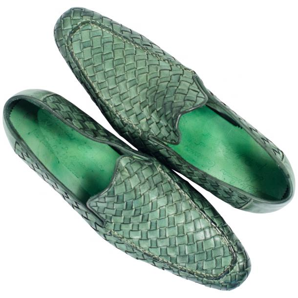 Jerome Dip Dyed Green Nappa Leather Hand Woven Slip Ons  full-size #2