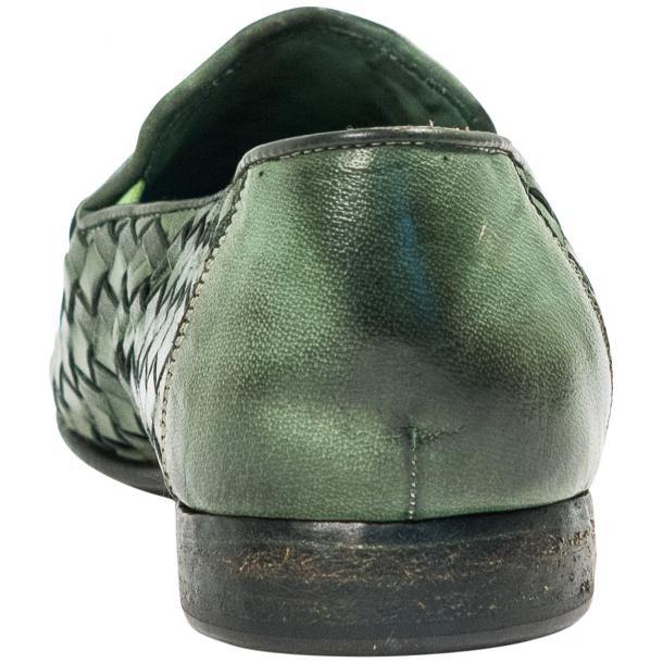 Jerome Dip Dyed Green Nappa Leather Hand Woven Slip Ons  full-size #5