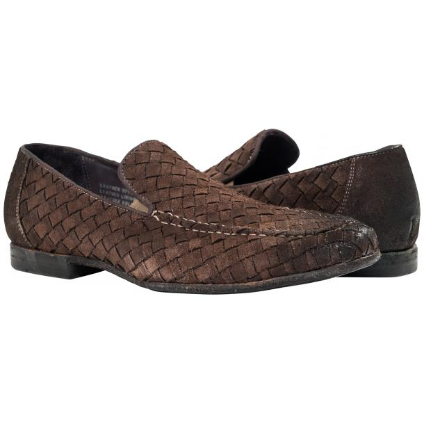 Jerome Dip Dyed Grey Suede Hand Woven Slip Ons  full-size #1