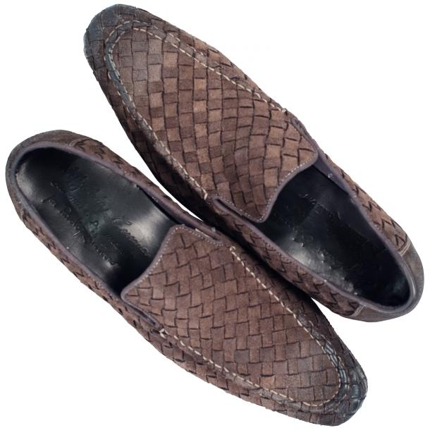 Jerome Dip Dyed Grey Suede Hand Woven Slip Ons  full-size #2