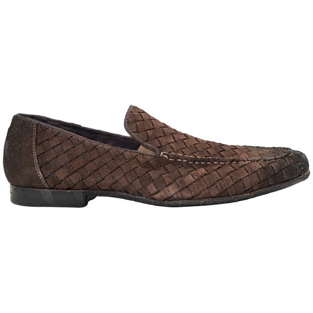 Jerome Dip Dyed Grey Suede Hand Woven Slip Ons  full-size #4