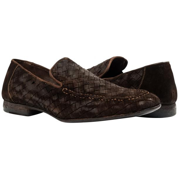 Caesar Dip Dyed Chocolate Suede Hand Woven Slip Ons  full-size #1