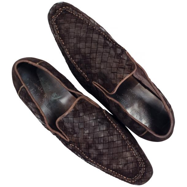 Caesar Dip Dyed Chocolate Suede Hand Woven Slip Ons  full-size #2
