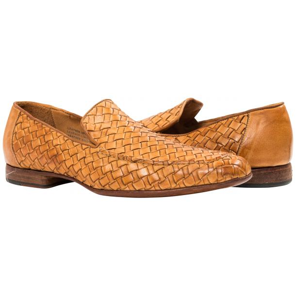 Caesar Dip Dyed Brick Nappa Leather Hand Woven Slip Ons  full-size #1