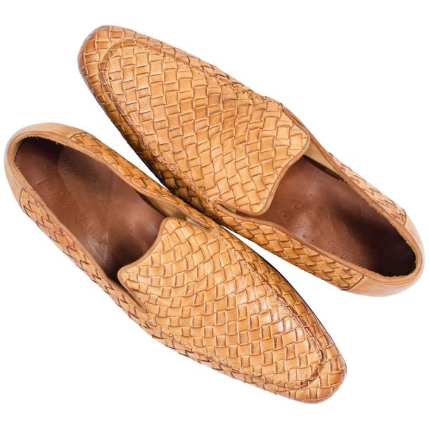 Caesar Dip Dyed Brick Nappa Leather Hand Woven Slip Ons  full-size #2