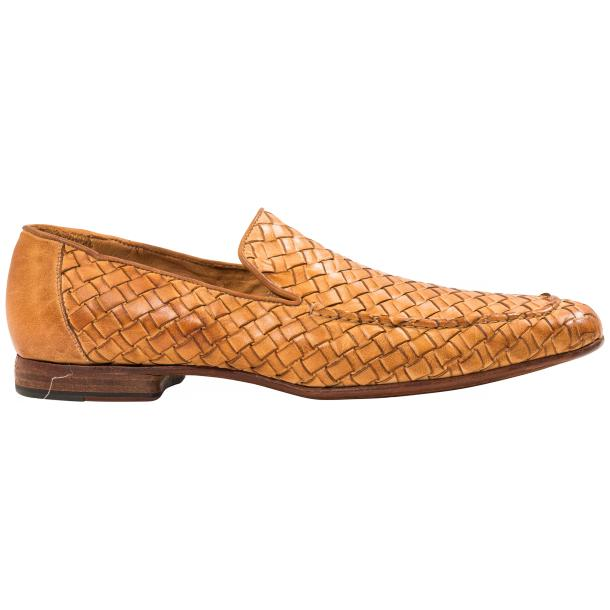 Caesar Dip Dyed Brick Nappa Leather Hand Woven Slip Ons  full-size #4