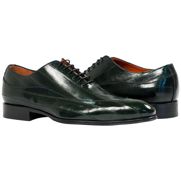 Dufresne Green Eel Skin Lace-Up Dress Shoes full-size #1