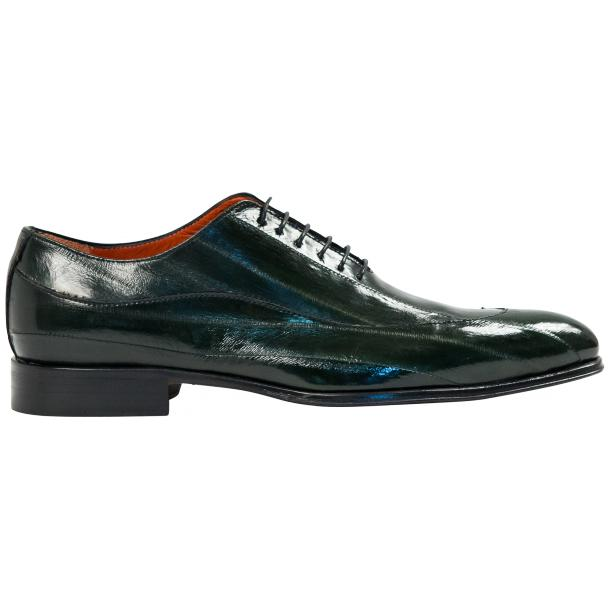 Dufresne Green Eel Skin Lace-Up Dress Shoes full-size #4