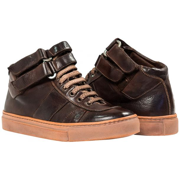 Arlene Brown Nappa Leather Dip Dyed Velcro High Top Sneakers full-size #1