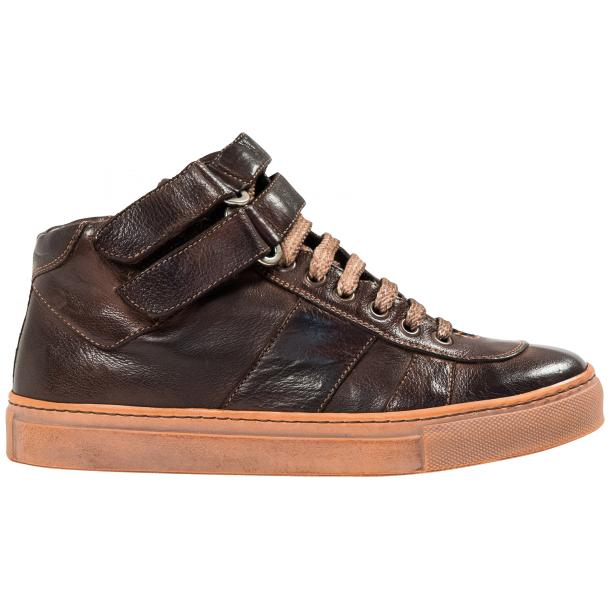 Arlene Brown Nappa Leather Dip Dyed Velcro High Top Sneakers full-size #4