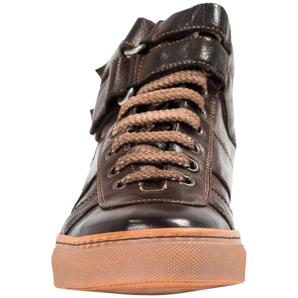 Arlene Brown Nappa Leather Dip Dyed Velcro High Top Sneakers full-size #3