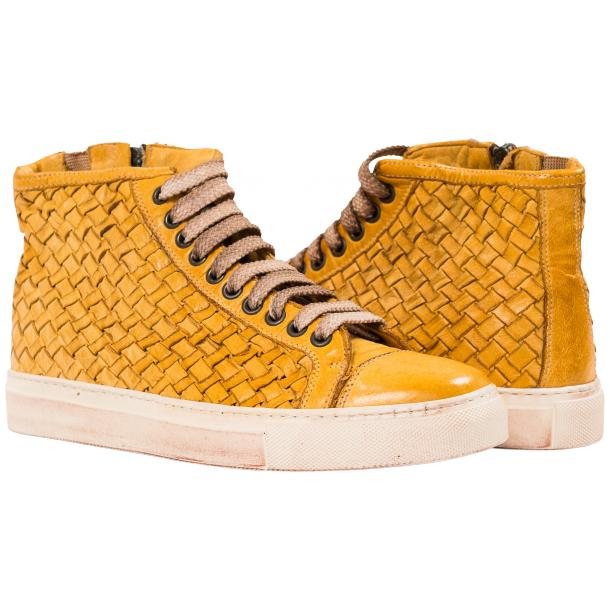 Rosalyn Dip Dyed Mahogany Hand Woven High Top Sneaker  full-size #1