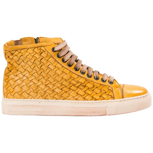 Rosalyn Dip Dyed Mahogany Hand Woven High Top Sneaker  full-size #4