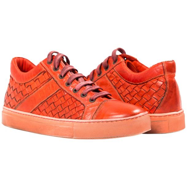 Veronica Dip Dyed Red Hand Woven Low Top Sneaker  full-size #1