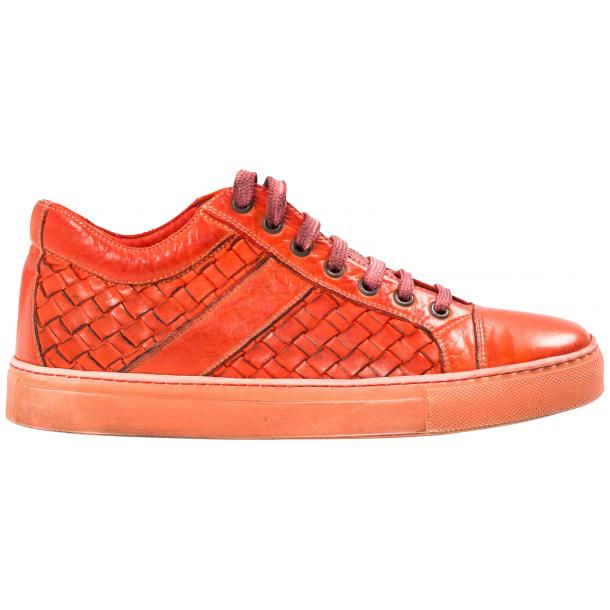 Veronica Dip Dyed Red Hand Woven Low Top Sneaker  full-size #4