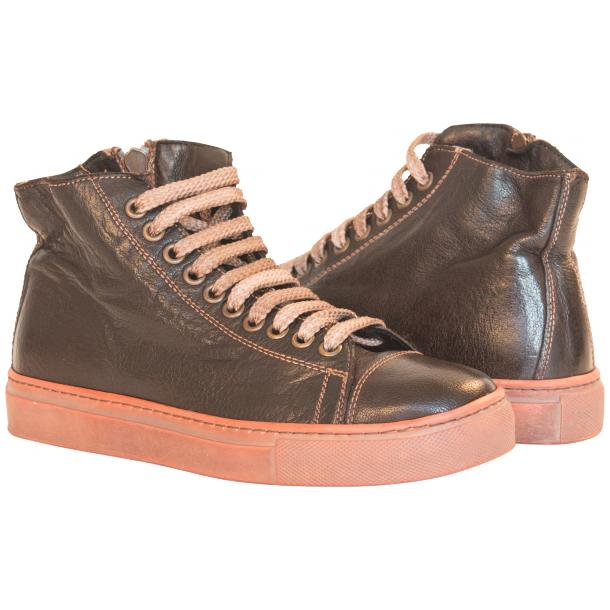Monica Dip Dyed Dark Brown Leather Sneakers full-size #1
