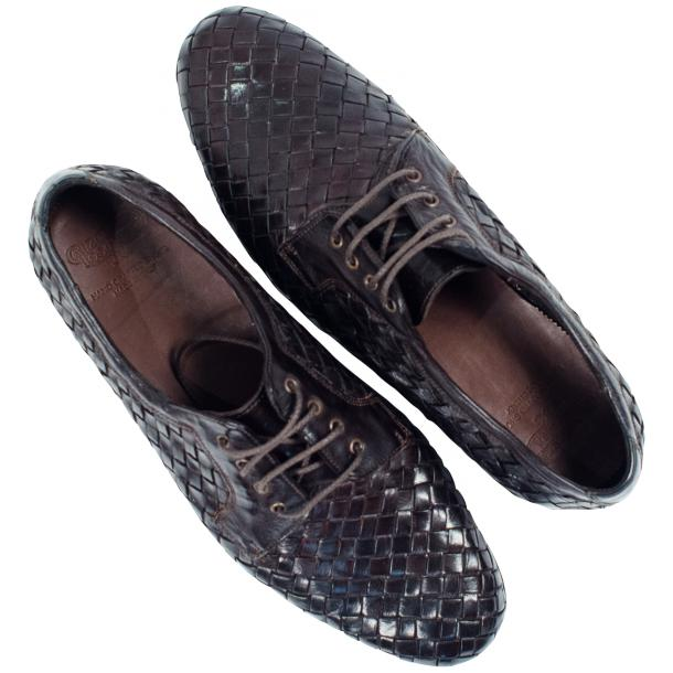 Kirk Dark Brown Dip Dyed Nappa Leather Hand Woven Lace up full-size #2