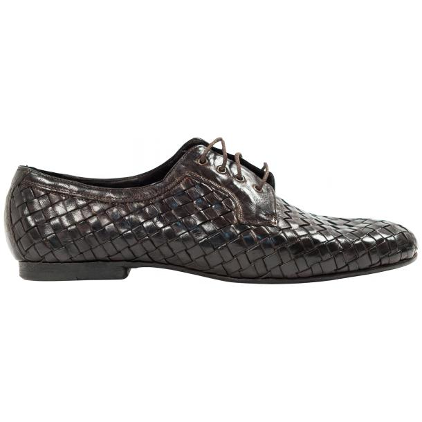 Kirk Dark Brown Dip Dyed Nappa Leather Hand Woven Lace up full-size #4