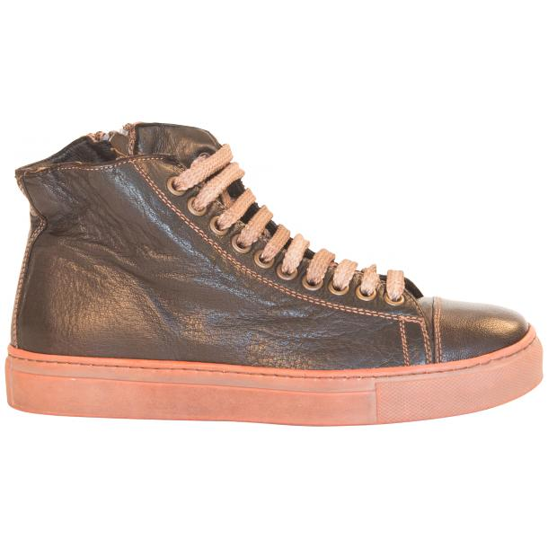 Monica Dip Dyed Dark Brown Leather Sneakers full-size #4