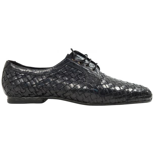 "Kirk Dark Grey ""Stone"" Dip Dyed Nappa Leather Hand Woven Laced up Shoes full-size #4"