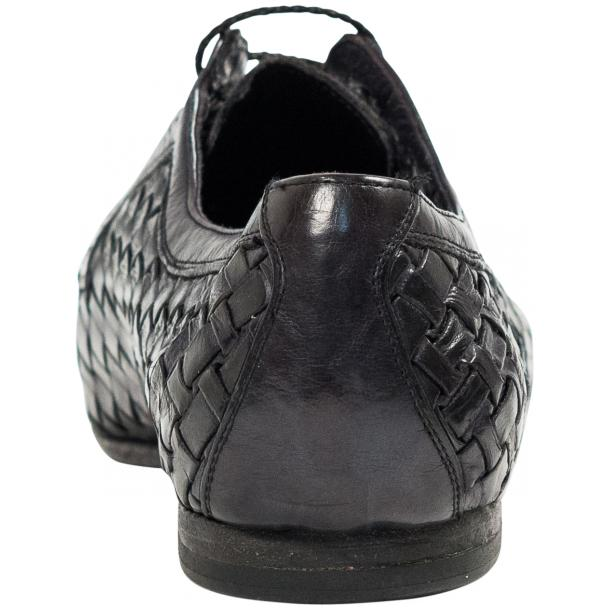 "Kirk Dark Grey ""Stone"" Dip Dyed Nappa Leather Hand Woven Laced up Shoes full-size #5"