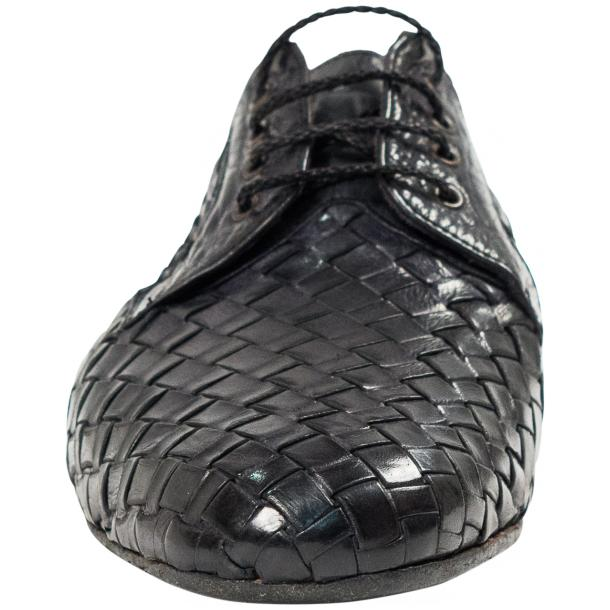 "Kirk Dark Grey ""Stone"" Dip Dyed Nappa Leather Hand Woven Laced up Shoes full-size #3"