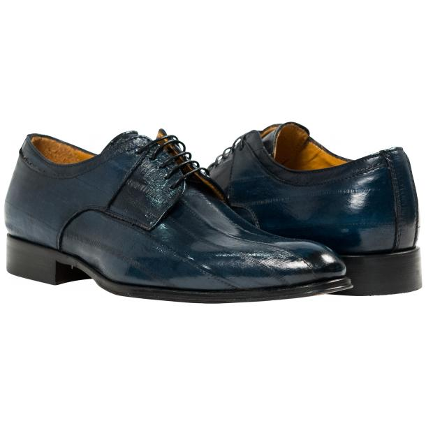 Craig Blue Eel Skin  Laced up Dress Shoes full-size #1