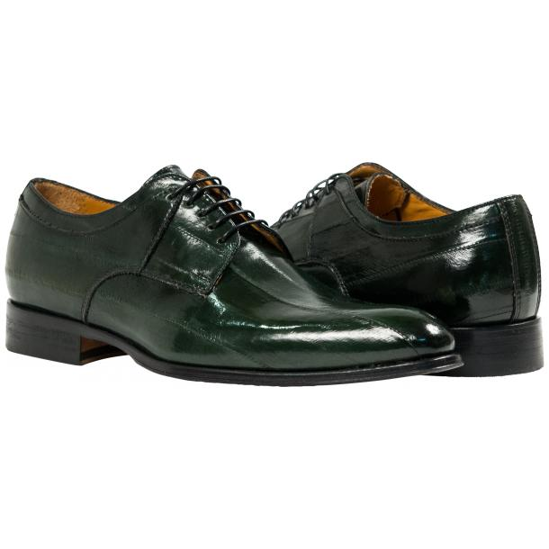 "Craig Dark Green ""Verde""  Eel Skin  Laced up Dress Shoes full-size #1"