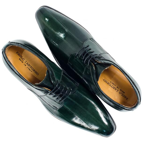 "Craig Dark Green ""Verde""  Eel Skin  Laced up Dress Shoes full-size #2"