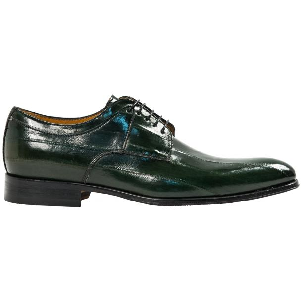 "Craig Dark Green ""Verde""  Eel Skin  Laced up Dress Shoes full-size #4"