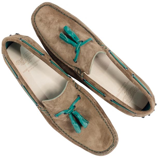 Matthew Taupe Suede Rubber Pebble Drivers Loafers  full-size #2