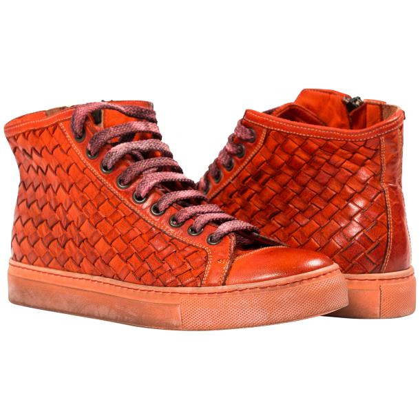 Rosalyn Dip Dyed Red Hand Woven High Top Sneaker  full-size #1