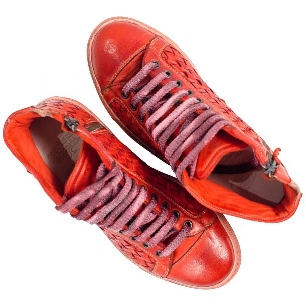 Rosalyn Dip Dyed Red Hand Woven High Top Sneaker  full-size #2