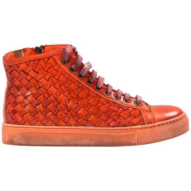 Rosalyn Dip Dyed Red Hand Woven High Top Sneaker  full-size #4