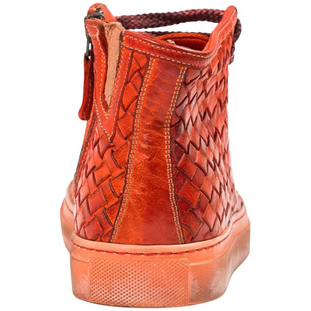 Rosalyn Dip Dyed Red Hand Woven High Top Sneaker  full-size #5