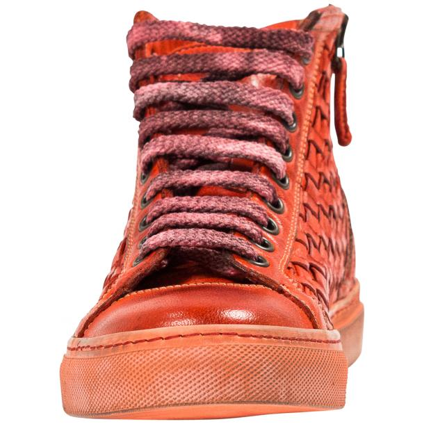 Rosalyn Dip Dyed Red Hand Woven High Top Sneaker  full-size #3