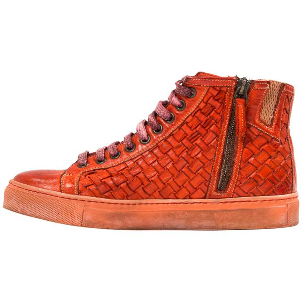 Rosalyn Dip Dyed Red Hand Woven High Top Sneaker  full-size #6