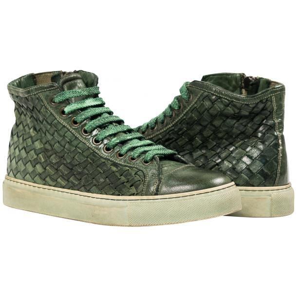 Rosalyn Dip Dyed Green Hand Woven High Top Sneaker  full-size #1