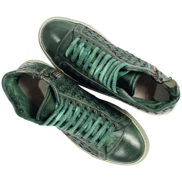 Rosalyn Dip Dyed Green Hand Woven High Top Sneaker  full-size #2