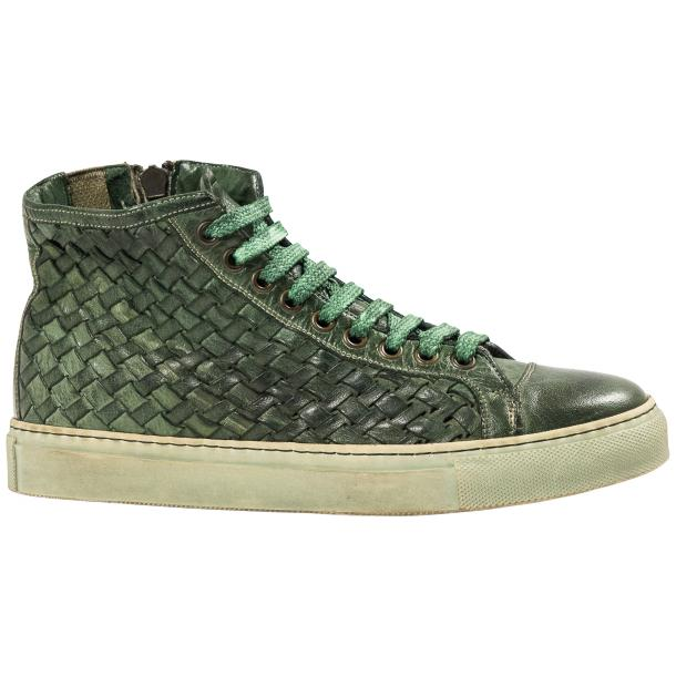 Rosalyn Dip Dyed Green Hand Woven High Top Sneaker  full-size #4