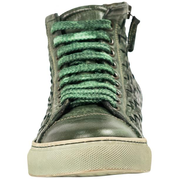 Rosalyn Dip Dyed Green Hand Woven High Top Sneaker  full-size #3