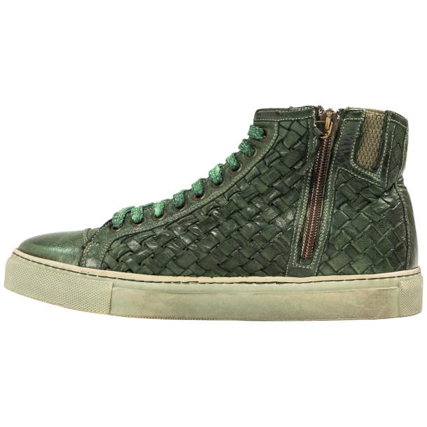 Rosalyn Dip Dyed Green Hand Woven High Top Sneaker  full-size #5