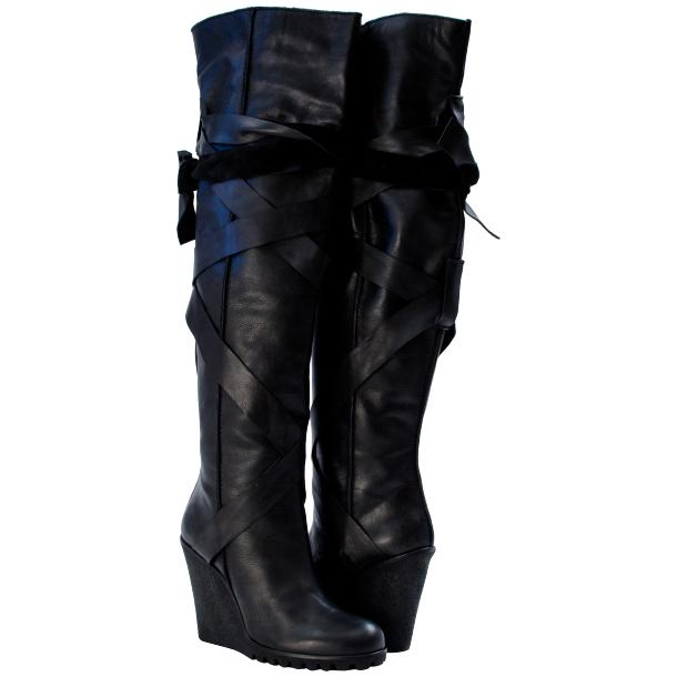 Regina Over the Knee Wedge Boots Black full-size #1
