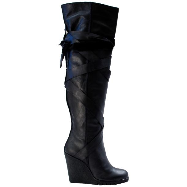 Regina Over the Knee Wedge Boots Black full-size #3