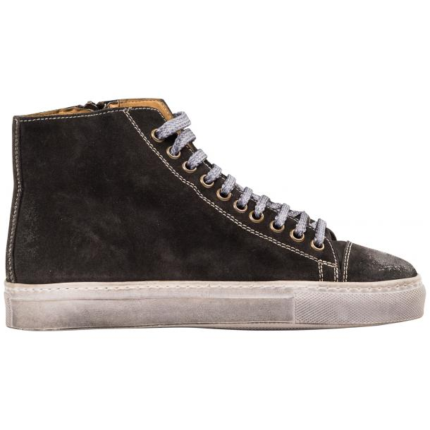 Ava Dark Grey Dip Dyed Suede High Top Sneakers full-size #4