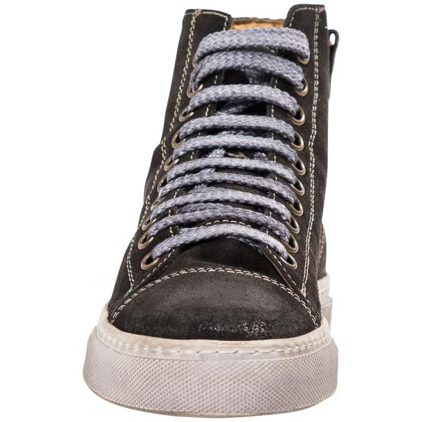 Ava Dark Grey Dip Dyed Suede High Top Sneakers full-size #3