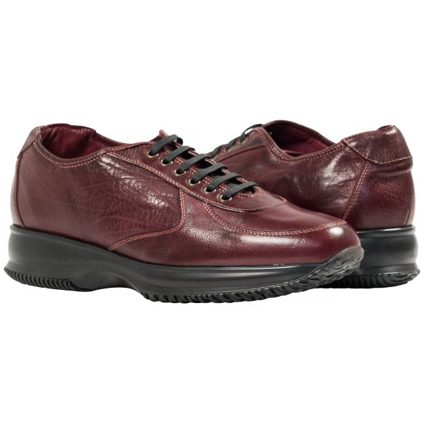 Maximo Oxblood Red Nappa Leather Thick Rubber Sole Sneakers  full-size #1